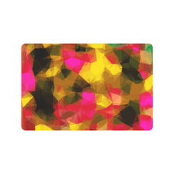 "psychedelic geometric polygon shape pattern abstract in pink yellow green Doormat 24"" x 16"""