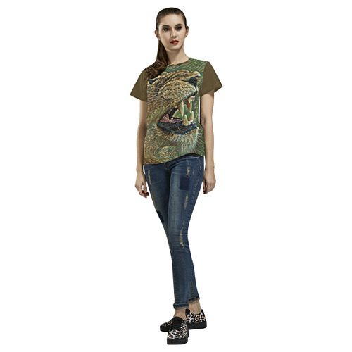 CAMOUFLAGE LION OR LIONESS All Over Print T-Shirt for Women (USA Size) (Model T40)