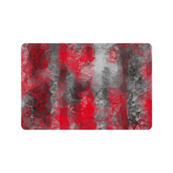 """psychedelic geometric polygon shape pattern abstract in red and black Doormat 24"""" x 16"""""""