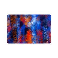 "psychedelic geometric polygon shape pattern abstract in red orange blue Doormat 24"" x 16"""