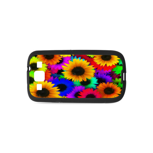 Neon Rainbow Pop Sunflowers Rubber Case for Samsung Galaxy S3