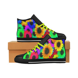 Neon Rainbow Pop Sunflowers Aquila High Top Microfiber Leather Men's Shoes (Model 027)