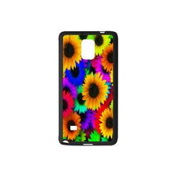 Neon Rainbow Pop Sunflowers Rubber Case for Samsung Galaxy Note 4