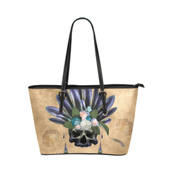 Cool skull with feathers and flowers Leather Tote Bag/Large (Model 1651)