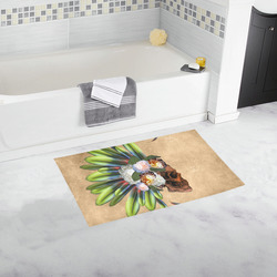 Amazing skull with feathers and flowers Bath Rug 16''x 28''