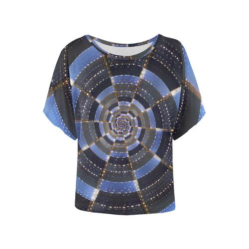 Midnight Crazy Dart Women's Batwing-Sleeved Blouse T shirt (Model T44)