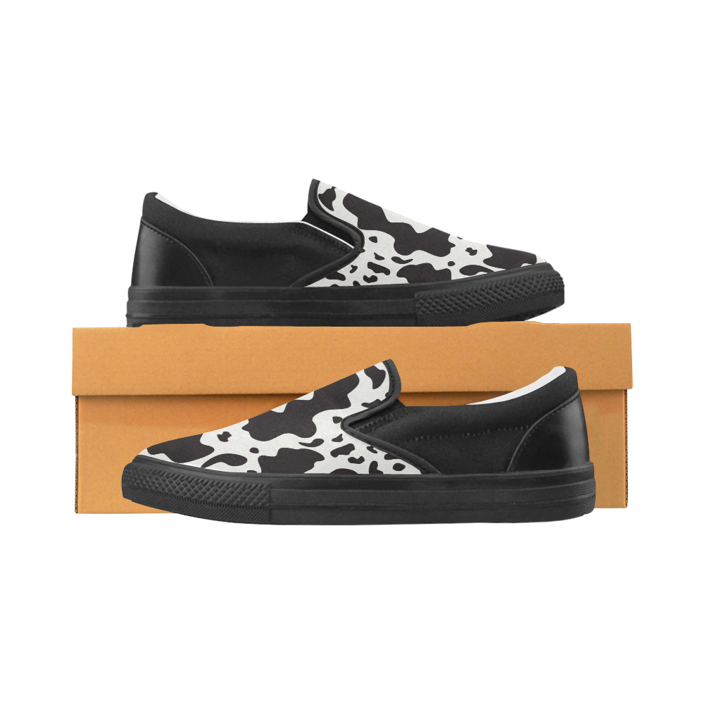 COW CAMOUFLAGE Women's Unusual Slip-on Canvas Shoes (Model 019)
