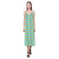 Fish Pattern V-Neck Open Fork Long Dress(Model D18)