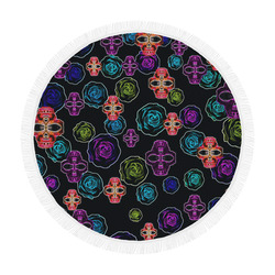 """skull art portrait and roses in pink purple blue yellow with black background Circular Beach Shawl 59""""x 59"""""""
