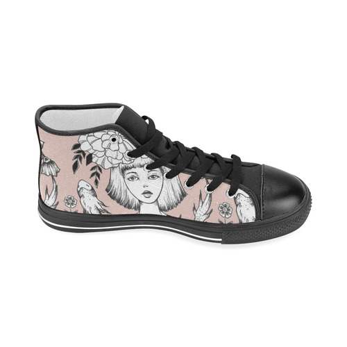ink girl - fish bowl Women's Classic High Top Canvas Shoes (Model 017)