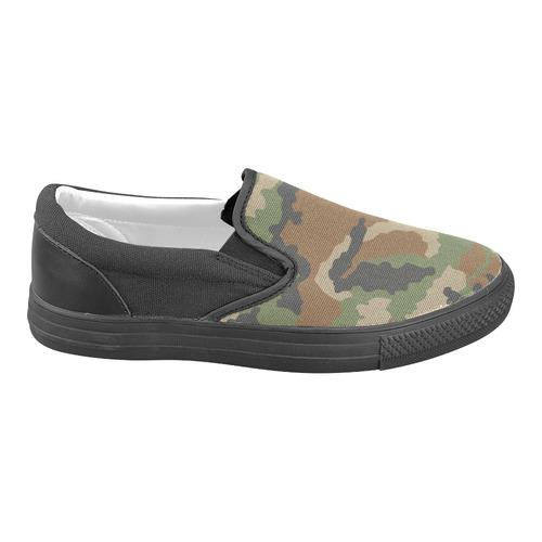 CAMOUFLAGE WOODLAND I Women's Unusual Slip-on Canvas Shoes (Model 019)