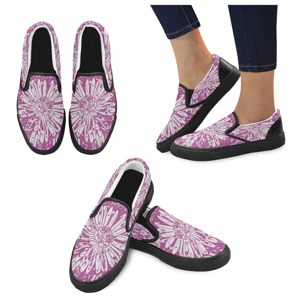 FLOWER PINK Women's Unusual Slip-on Canvas Shoes (Model 019)