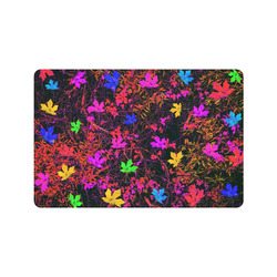 """maple leaf in yellow green pink blue red with red and orange creepers plants background Doormat 24"""" x 16"""""""