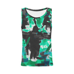 psychedelic vintage camouflage painting texture abstract in green and black All Over Print Tank Top for Women (Model T43)