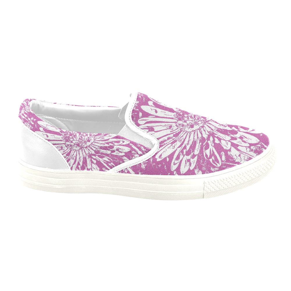FLOWER PINK Women's Unusual Slip-on Canvas Shoes (Model 019)