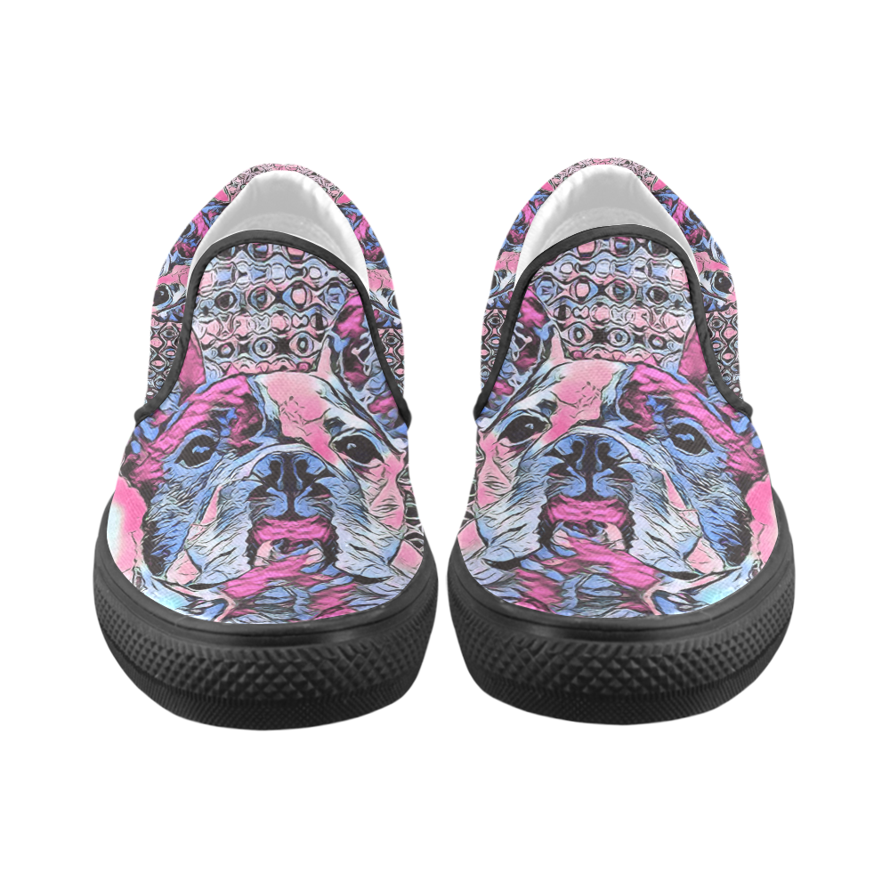 FRENCH BULLDOG LUXURY Women's Unusual Slip-on Canvas Shoes (Model 019)