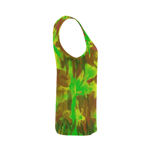camouflage painting texture abstract background in green yellow brown All Over Print Tank Top for Women (Model T43)