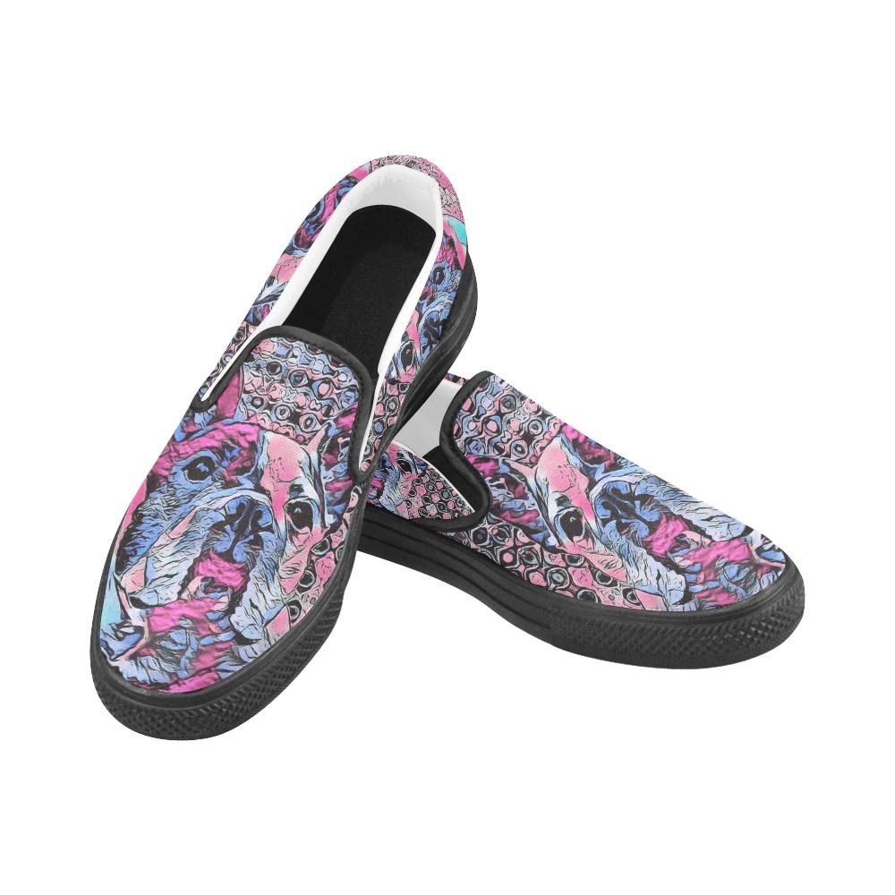 FRENCH BULLDOG LUXURY Women's Unusual Slip-on Canvas Shoes (Model 019)