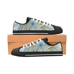 Floral Fantasy Pattern Abstract Blue Khaki Fractal Aquila Microfiber Leather Women's Shoes (Model 028)