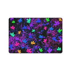 """maple leaf in pink blue green yellow purple with pink and purple creepers plants background Doormat 24"""" x 16"""""""