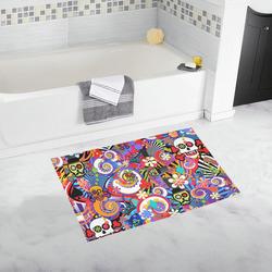 Sugar Bath Rug Skull Pop Art Colorful Print Bath Rug 20''x 32''