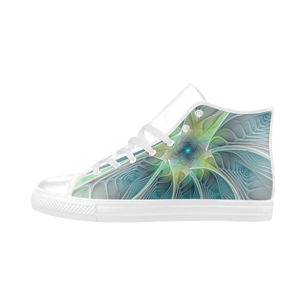 Floral Fantasy Abstract Blue Green Fractal Flower Aquila High Top Microfiber Leather Women's Shoes (Model 032)