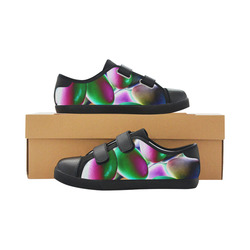 Psychedelic Candy Velcro Canvas Kid's Shoes (Model 008)