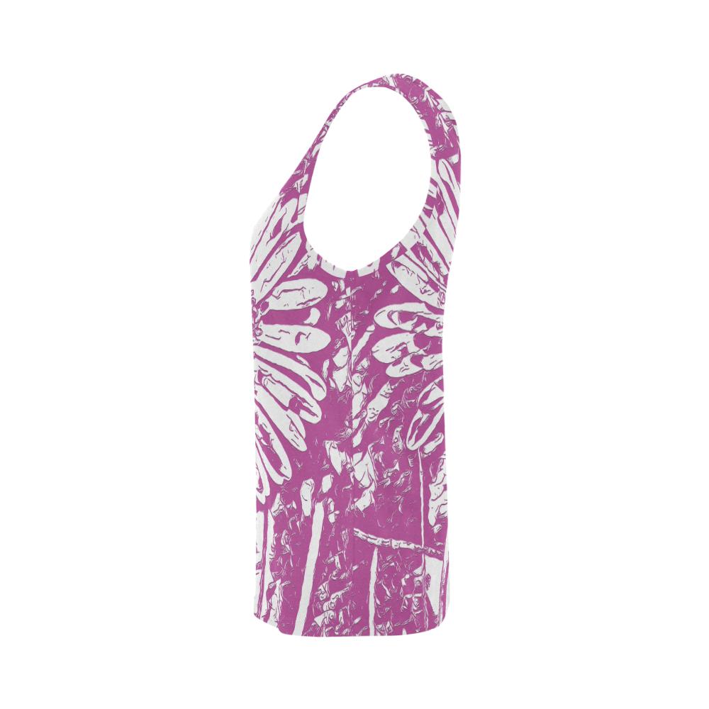FLOWER PINK V All Over Print Tank Top for Women (Model T43)