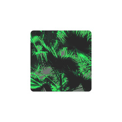 green palm leaves texture abstract background Square Coaster
