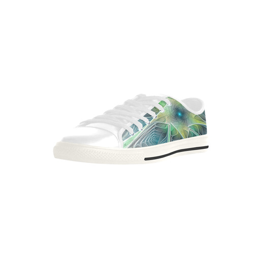 Floral Fantasy Abstract Blue Green Fractal Flower Aquila Microfiber Leather Women's Shoes (Model 028)