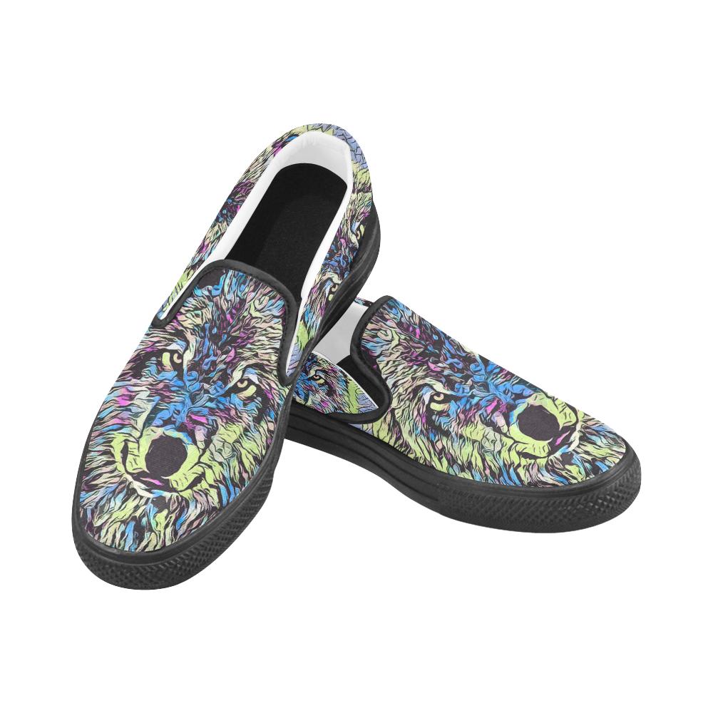 WOLF MULTICOLOR Women's Unusual Slip-on Canvas Shoes (Model 019)