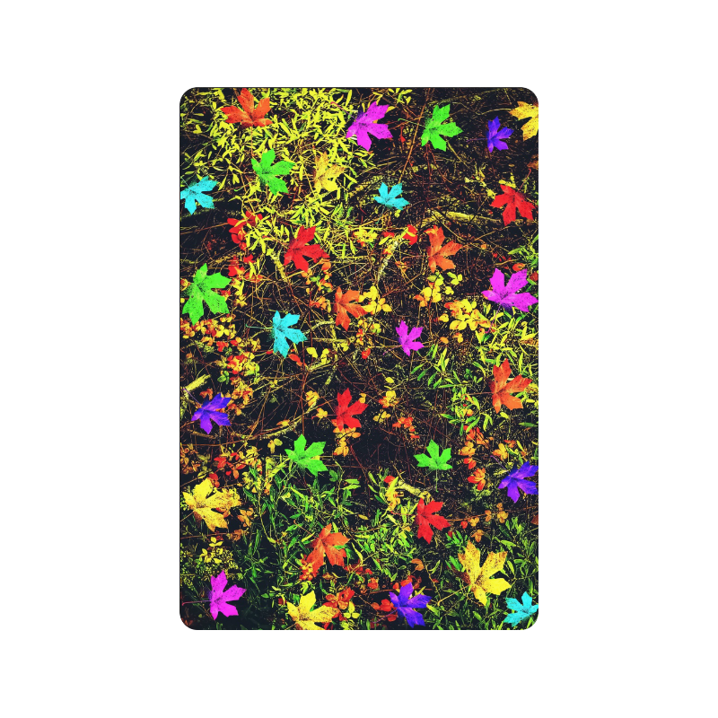 """maple leaf in blue red green yellow pink orange with green creepers plants background Doormat 24"""" x 16"""""""