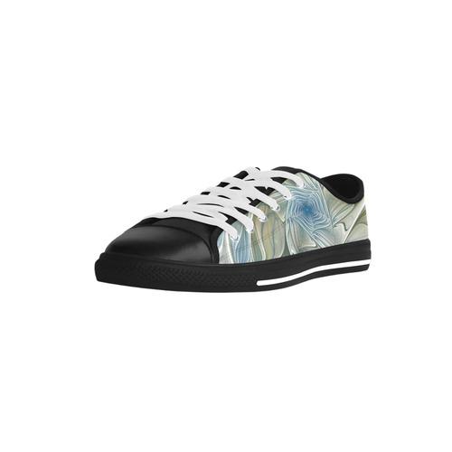 Floral Fantasy Pattern Abstract Blue Khaki Fractal Aquila Microfiber Leather Women's Shoes (Model 028)