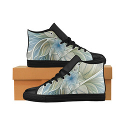 Floral Fantasy Pattern Abstract Blue Khaki Fractal Aquila High Top Microfiber Leather Women's Shoes (Model 032)