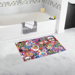 Bath Rug Sugar Skull Pop Art Colorful Print Bath Rug 16''x 28''