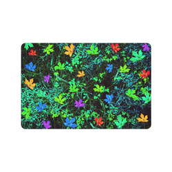 """maple leaf in pink blue green yellow orange with green creepers plants background Doormat 24"""" x 16"""""""