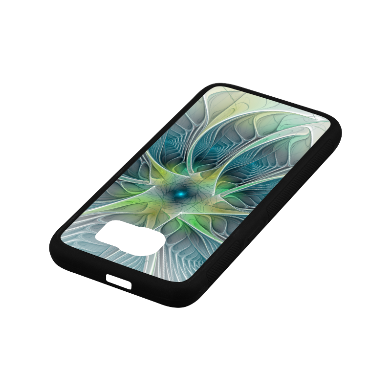 Floral Fantasy Abstract Blue Green Fractal Flower Rubber Case for Samsung Galaxy S6