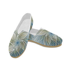 Floral Fantasy Pattern Abstract Blue Khaki Fractal Unisex Casual Shoes (Model 004)