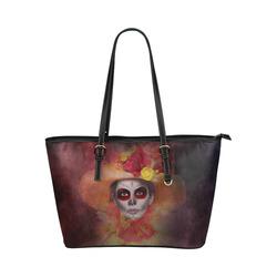 Sugarskull Summer Girl Leather Tote Bag/Large (Model 1651)