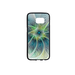 Floral Fantasy Abstract Blue Green Fractal Flower Rubber Case for Samsung Galaxy S7 edge