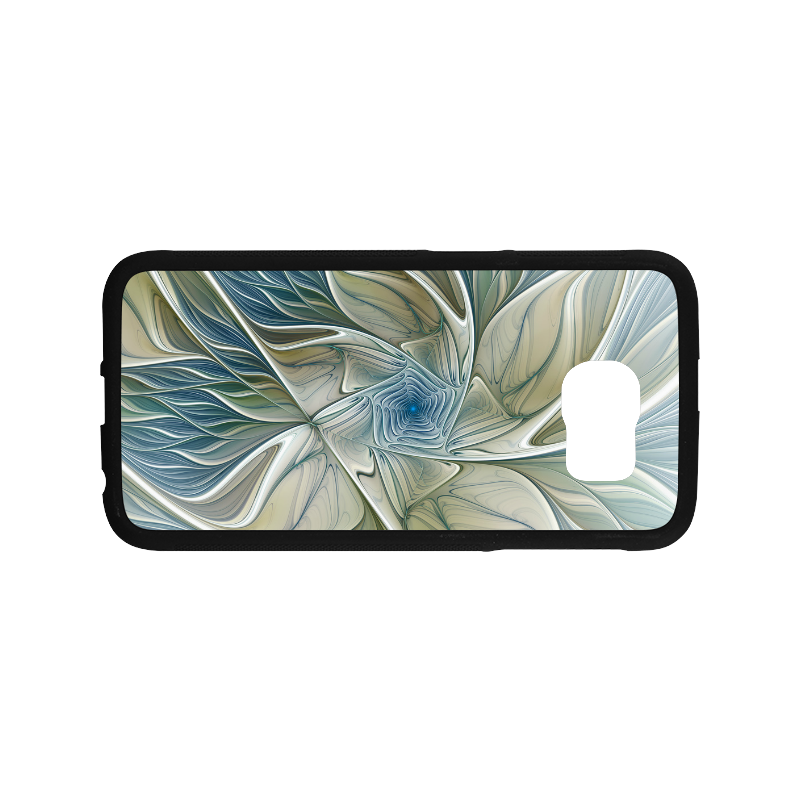 Floral Fantasy Pattern Abstract Blue Khaki Fractal Rubber Case for Samsung Galaxy S6