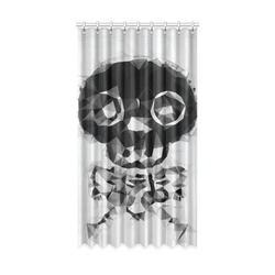 """psychedelic skull and bone art geometric triangle abstract pattern in black and white Window Curtain 52"""" x96""""(One Piece)"""