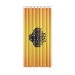 "fractal black skull portrait with orange abstract background Window Curtain 50"" x 108""(One Piece)"