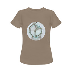 Abstract Modern Turquoise Brown Gold Elegance Women's Classic T-Shirt (Model T17)
