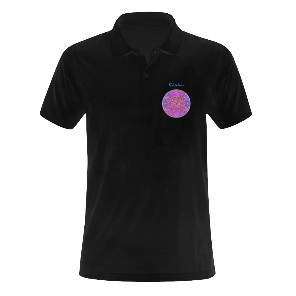 protection in purple colors Men's Polo Shirt (Model T24)