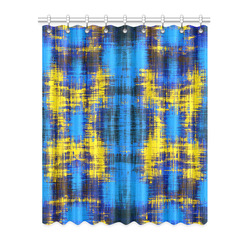 """geometric plaid pattern painting abstract in blue yellow and black Window Curtain 52"""" x 63""""(One Piece)"""
