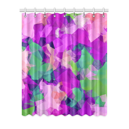 "psychedelic geometric polygon pattern abstract in pink purple green Window Curtain 52"" x 63""(One Piece)"