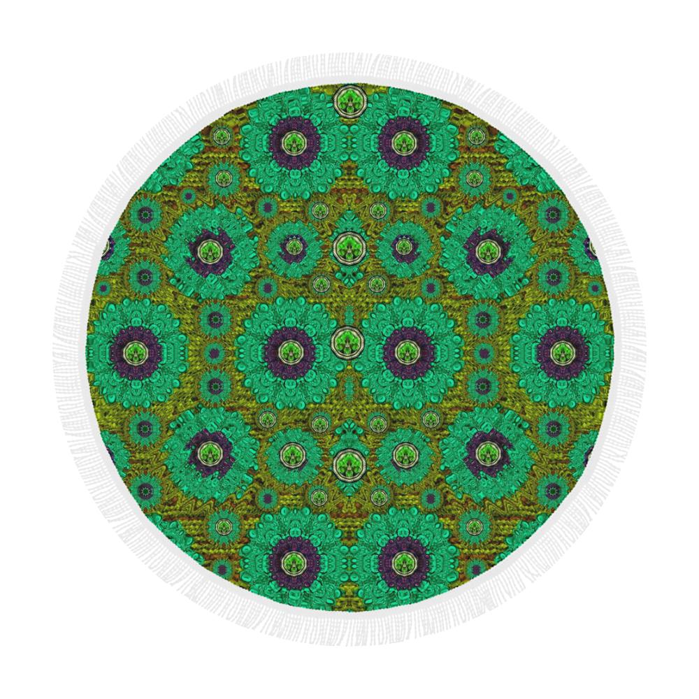 "Peacock-flowers in the stars of eden  pop art Circular Beach Shawl 59""x 59"""