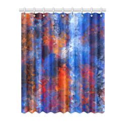"""psychedelic geometric polygon shape pattern abstract in red orange blue Window Curtain 52"""" x 63""""(One Piece)"""