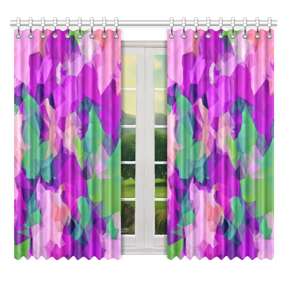 """psychedelic geometric polygon pattern abstract in pink purple green Window Curtain 52"""" x 63""""(One Piece)"""